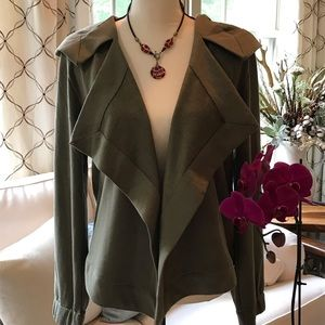 NWT Cable & Gauge Olive Green Open Front Jacket